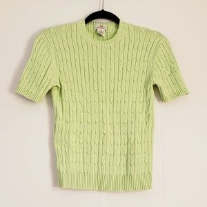 Brooks Brothers Green Cable Knit Sweater Size XS